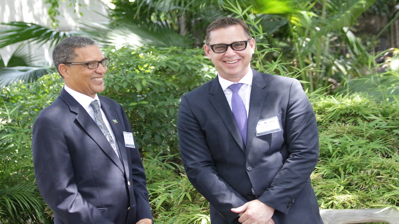 IP CARICOM specialist Malcolm Spence (left) with J Todd Reves, Regional IP Attache.