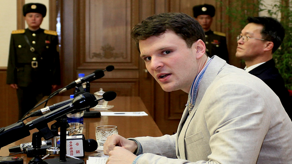 In this Feb. 29, 2016, file photo, American student Otto Warmbier speaks as he is presented to reporters in Pyongyang, North Korea.