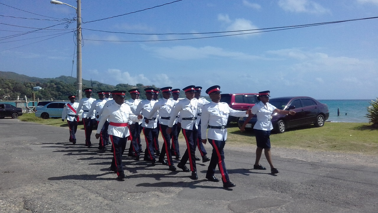 Police officers during the traditional circuit parade in Port Maria, St Mary on Monday.