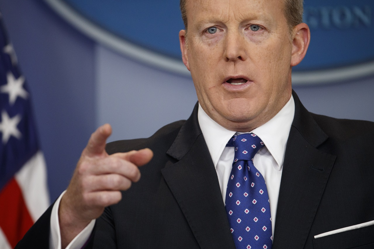 In this May 9, 2017, file photo, White House press secretary Sean Spicer speaks during the daily press briefing at the White House in Washington. White House Press Secretary Sean Spicer has resigned over hiring of new communications aide.