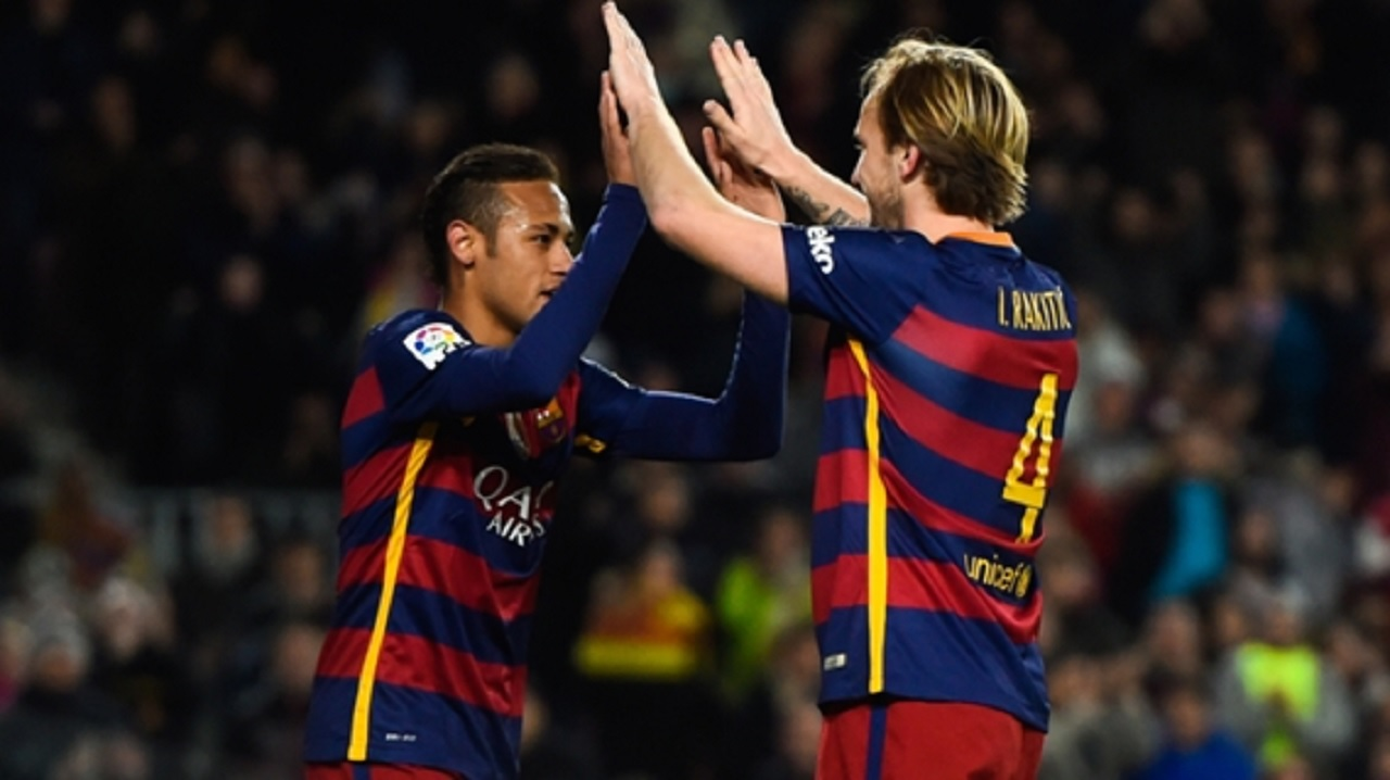 Barcelona duo Neymar and Ivan Rakitic.