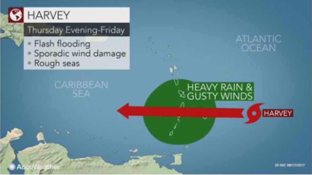 Tropical Storm Harvey to enter Caribbean Sea this weekend. Photo courtesy AccuWeather.
