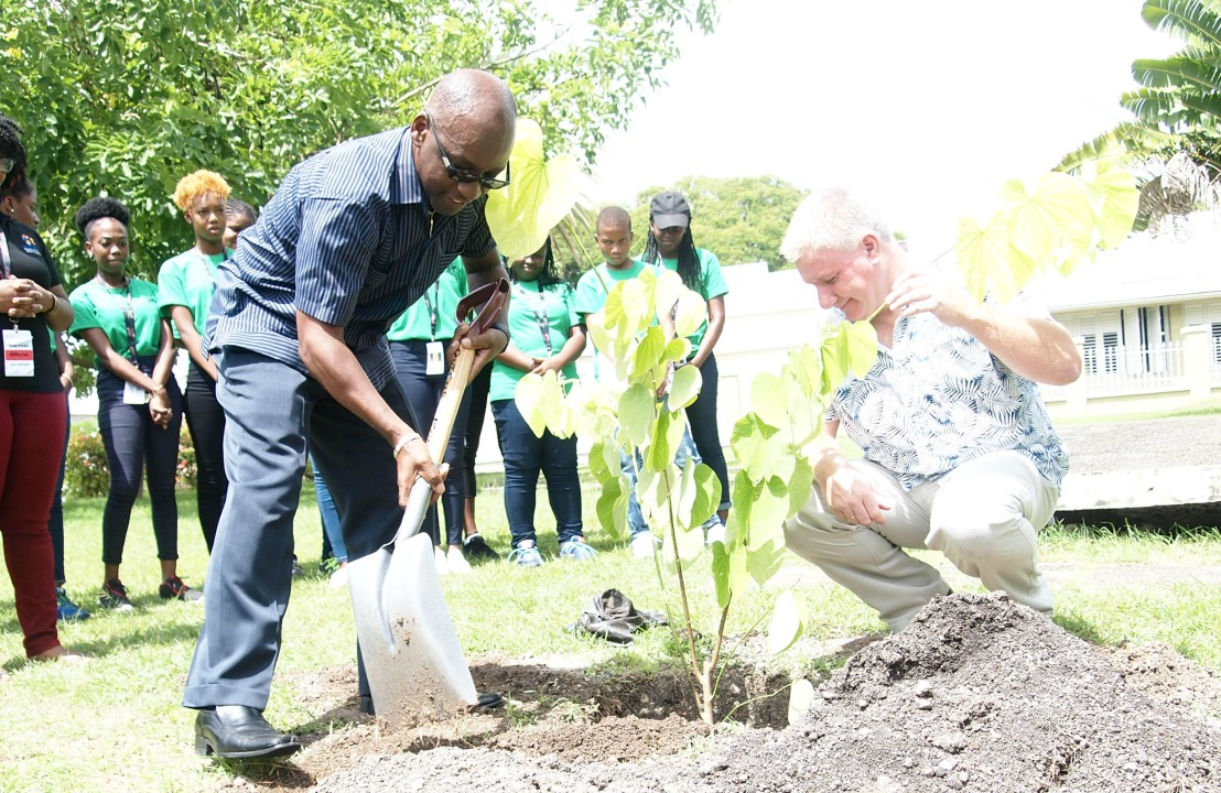 Minister of Culture, Stephen Lashley being assisted by Vice President Asset Management, David McGregor of Emera Caribbean with the planting of a tree as part of the greening initiatives for Carifesta XIII.