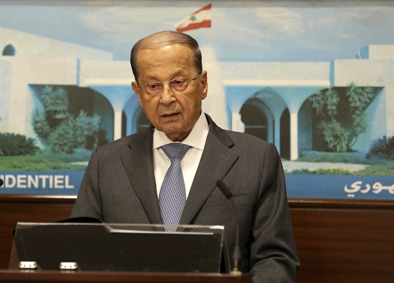 In this photo released by Lebanon's official government photographer Dalati Nohra, Lebanese President Michel Aoun, speaks to journalists at the Presidential Palace in Baabda, east of Beirut, Lebanon, Wednesday, Aug. 30, 2017.