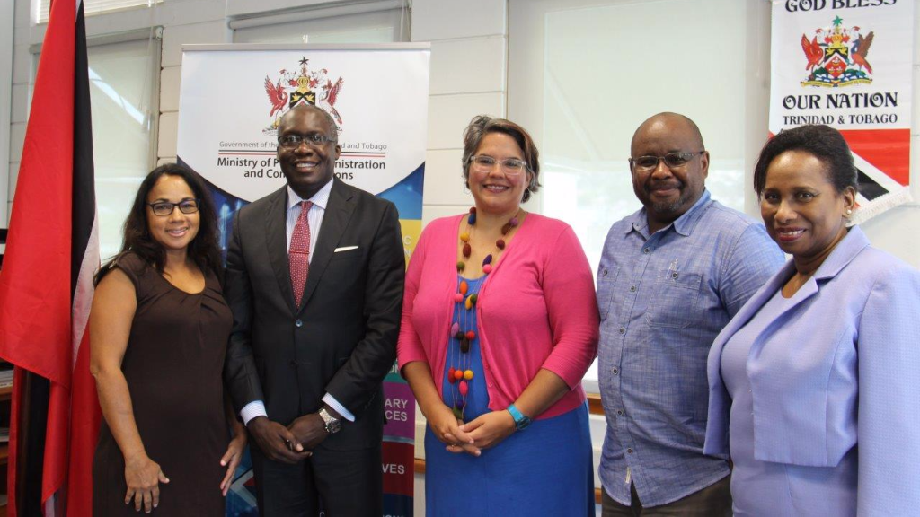 (Photo: (l-r) Danielle Dieffenthaller, member of FILMCO with Minister of Public Administration and Communications, Maxie Cuffie; Mariel Brown, Dion Boucaud, both members of FILMCO and Permanent Secretary in the Ministry of Public Administration and Communication, Joan Mendez following their meeting on Wednesday at the Ministry's head office, Level 7, National Library Building (NALIS))