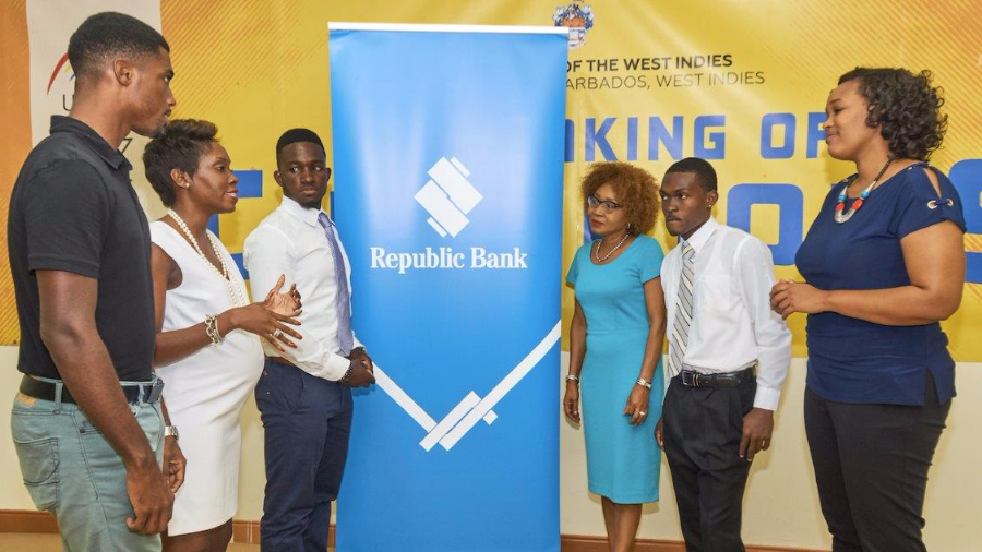 Joel Manning (intern), Dr. Tara Wilkinson-McClean (CPL Sponsorship Manager), Kyle Hinckson (intern), Debbie Stoute (Manager Marketing & Corporate Communications with Republic Bank (Barbados) Limited) Rohansonn Waithe (intern), Amanda Reifer (Head, Academy of Sport, University of the West Indies Cavehill)