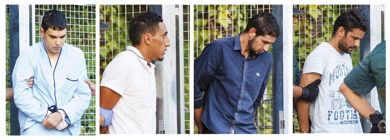 In this combination photo, four un-named alleged members of a terror cell accused of killing 15 people in attacks in Barcelona leaves a Civil Guard base on the outskirts of Madrid before appearing in court in Madrid, Spain, Tuesday Aug. 22, 2017. Four men were arrested last week for their alleged involvement in the planning or execution of attacks in Barcelona on Thursday and the northeastern resort town of Cambrils early Friday.