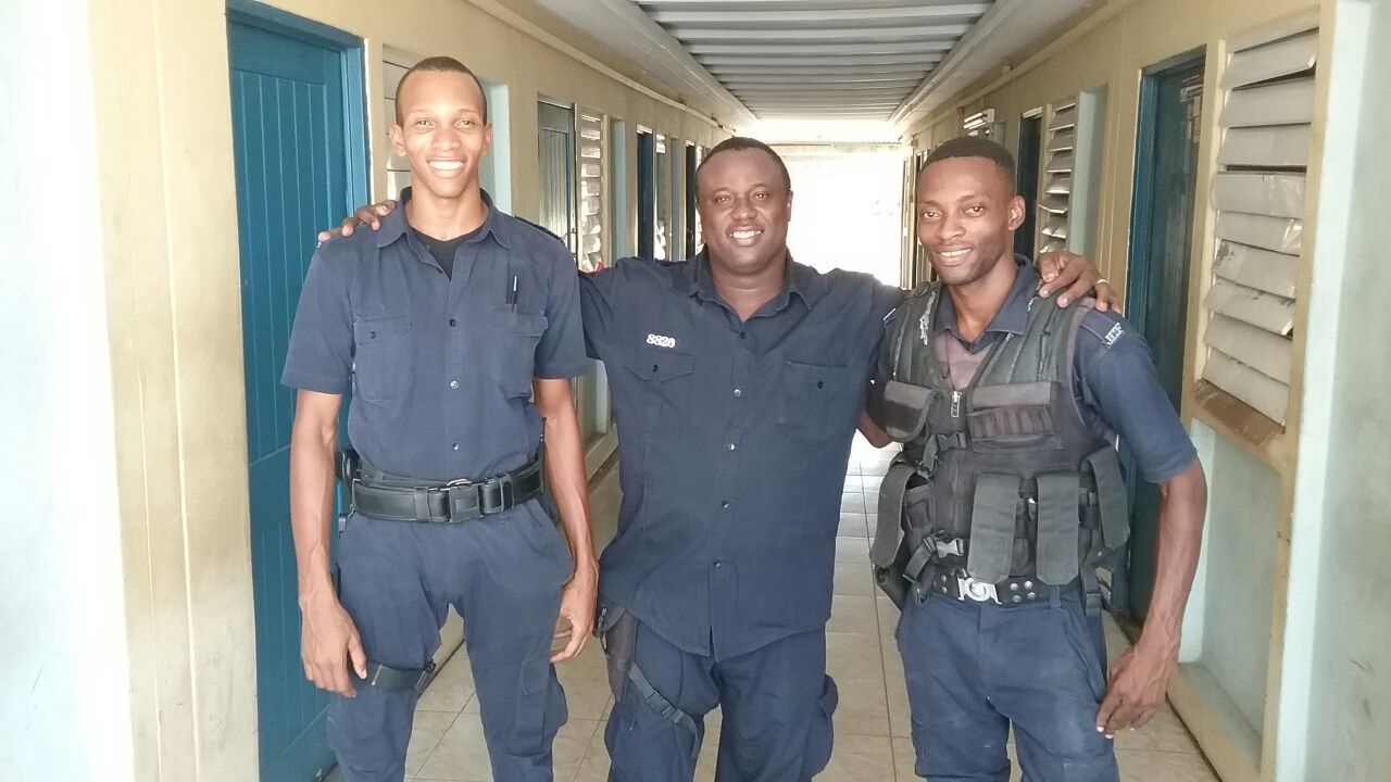 Members of the police team involved in the Harbour View rescue operation on Tuesday.