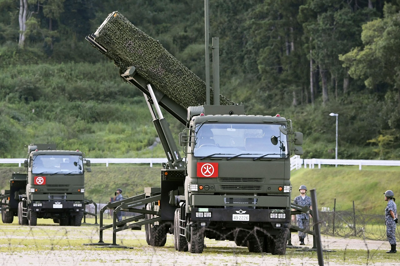 A PAC-3 interceptor is deployed in the compound of a garrison of the Japan Ground Self-Defense Force in Konan, Kochi prefecture, Japan, Saturday, Aug. 12, 2017. Japan started deploying land-based Patriot interceptors after North Korea threatened to send ballistic missiles flying over western Japan and landing near Guam.