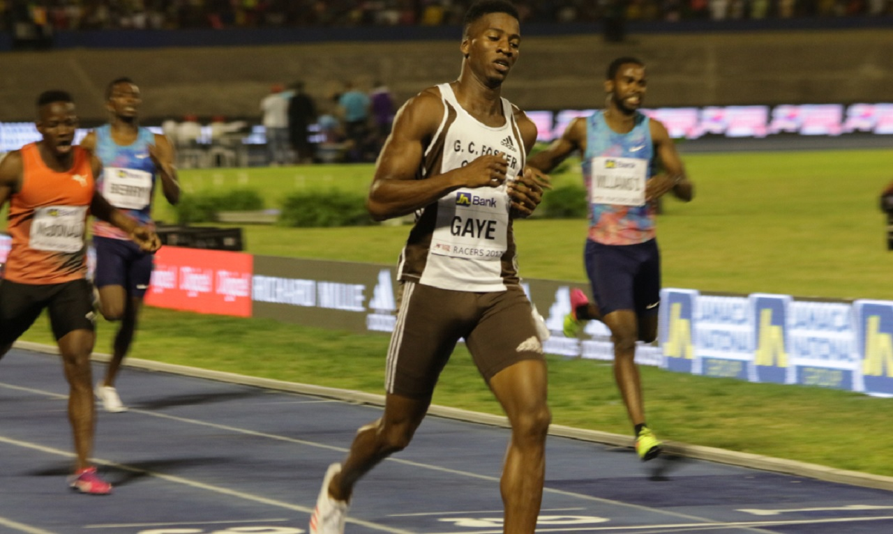 Jamaican quarter-miler Demish Gaye wins the men's 400 metres at the JN Racers Grand Prix on Saturday.