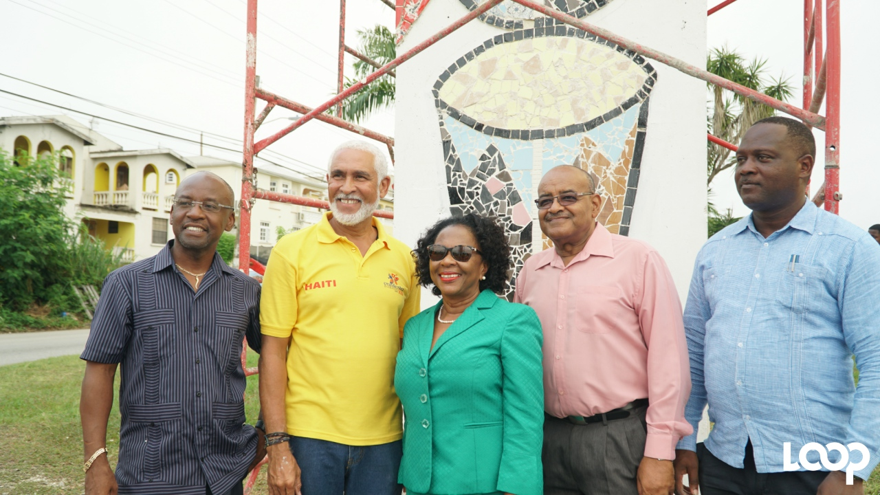 (L-R) Culture Minister Stephen Lashley, Artistic Director of CARIFESTA XII, Philippe Dodard, Chairman of the National Cultural Foundation, Maureen Graham; CEO of the National Cultural Foundation, Cranston Browne and MP for St James South, Donville Inniss. (PHOTO: Richard Grimes)
