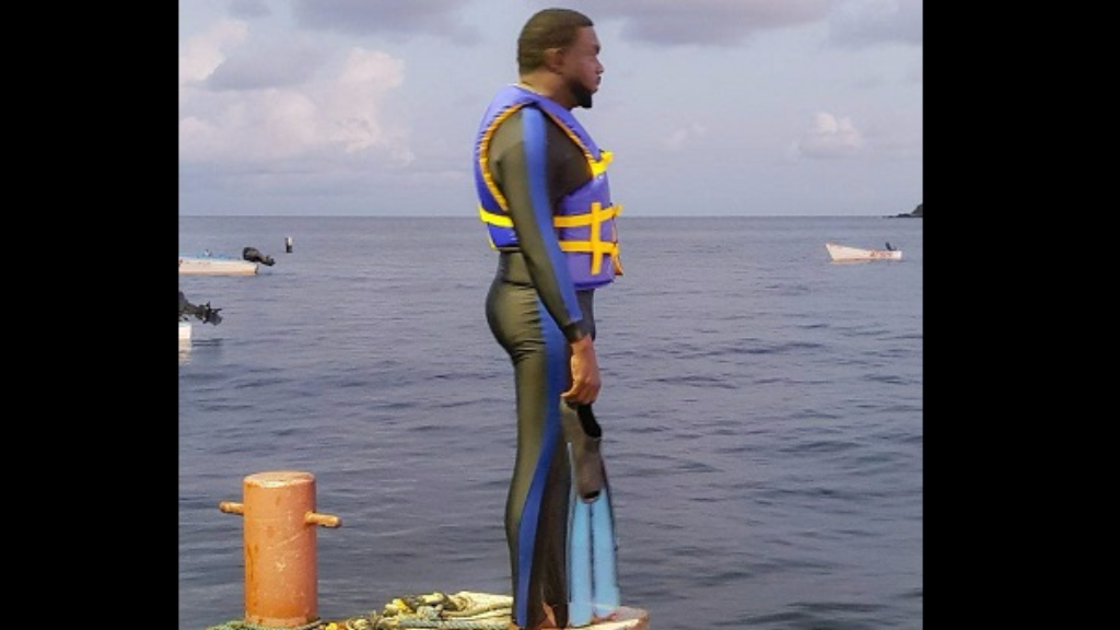 THA Minority Leader Watson Duke looks out at sea, as he prepares to train to swim from Tobago to Trinidad on Monday.