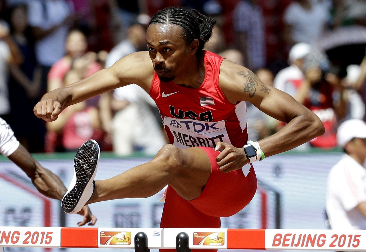 In this Wednesday, Aug. 26, 2015 file photo United States' Aries Merritt competes in a men's 110m hurdles round one heat at the World Athletics Championships at the Bird's Nest stadium in Beijing. Merritt is back at the world championships two years after winning a bronze medal with a failing kidney.