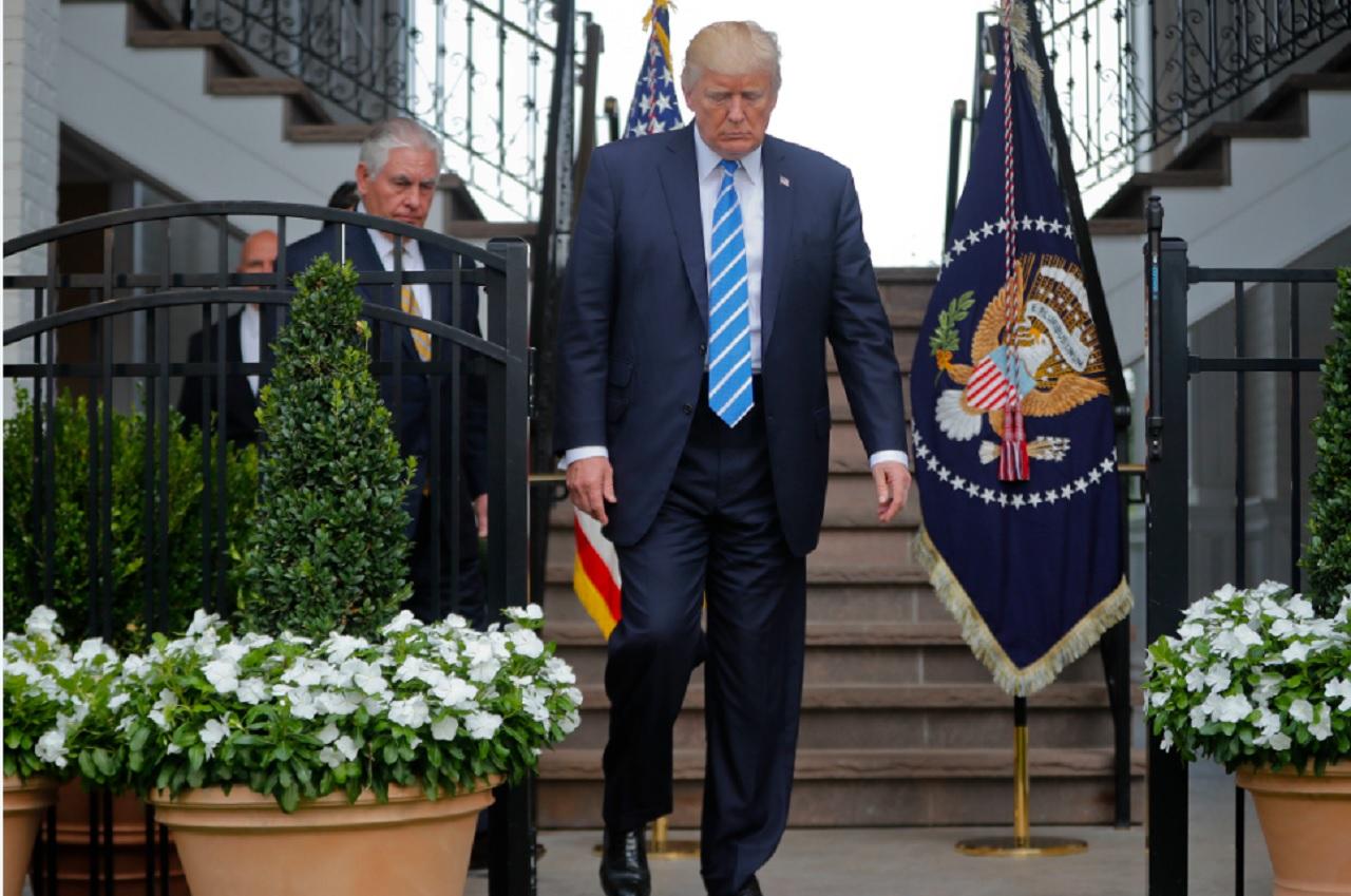 President Donald Trump walks out with Secretary of State Rex Tillerson, U.S. Ambassador to the United Nations Nikki Haley and national security adviser H.R. McMaster to speak to members of the media following their meeting at Trump National Golf Club in Bedminster, N.J., Friday, Aug. 11, 2017.