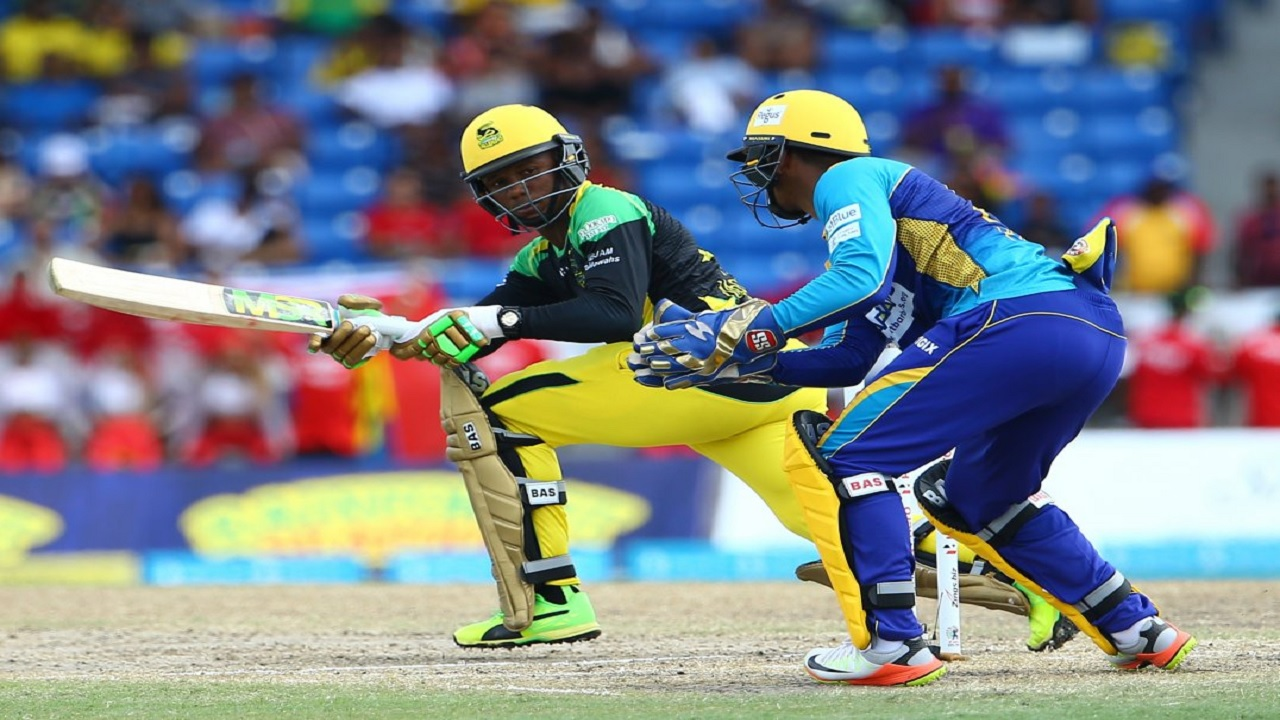 Man of the Match, Andre Mccarthy of the Jamaica Tallawahs, in action against the Barbados Tridents on Sunday.