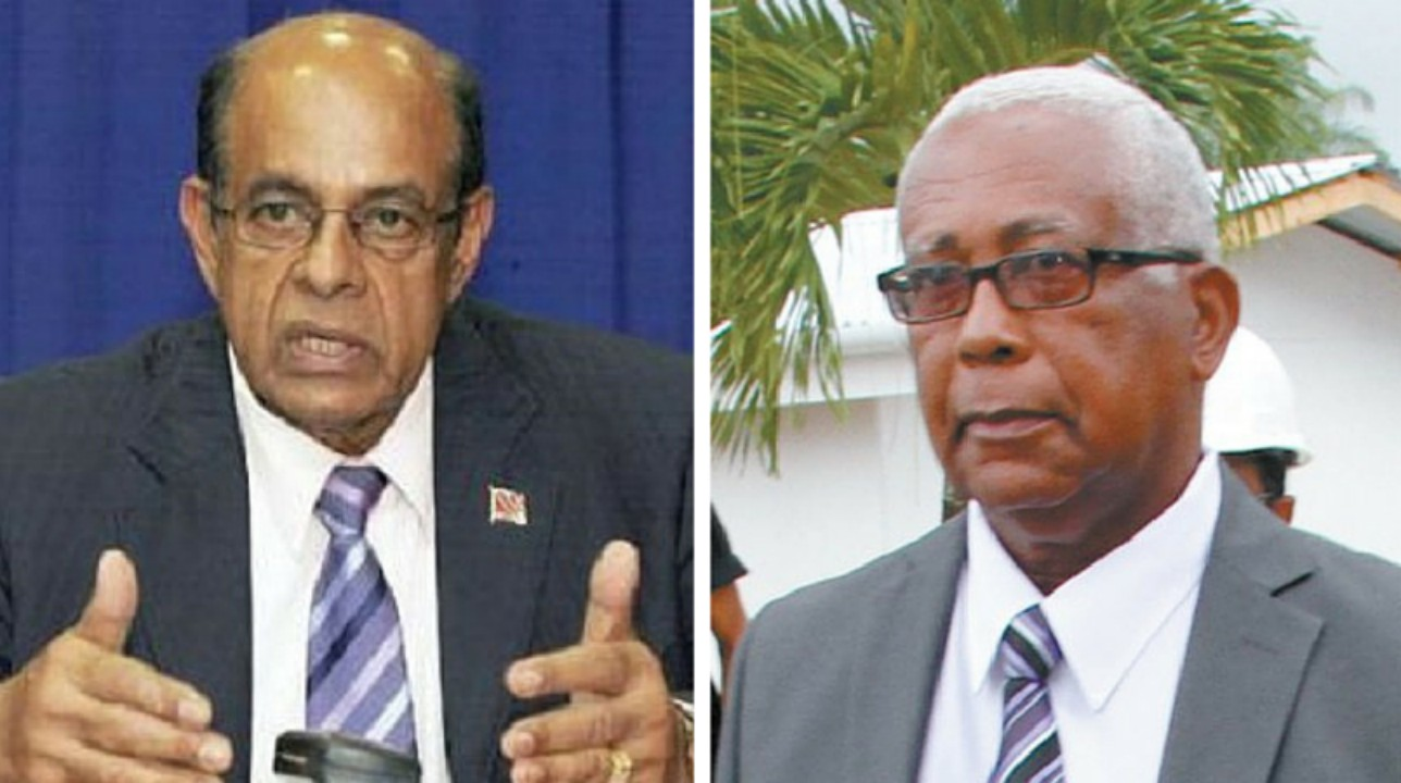 Former Education Minister Dr Tim Gopeesingh (left), Education Minister Anthony Garcia (right).