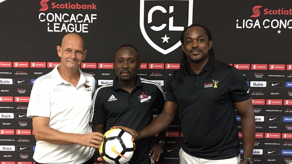 Photo: (L to R) Central FC operations manager Kevin Harrison, head coach Dale Saunders and managing director Brent Sancho during a Scotiabank CONCACAF League pre-game press conference at Cascadia Hotel in St. Ann's, Trinidad on Aug. 2, 2017.