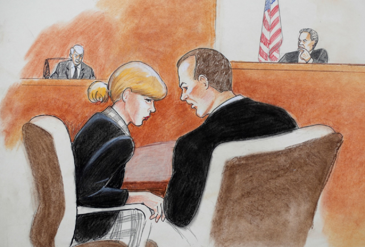 In this courtroom sketch, pop singer Taylor Swift, front left, confers with her attorney as David Mueller, back left, and the judge look on during a civil trial in federal court Tuesday, Aug. 8, 2017, in Denver.