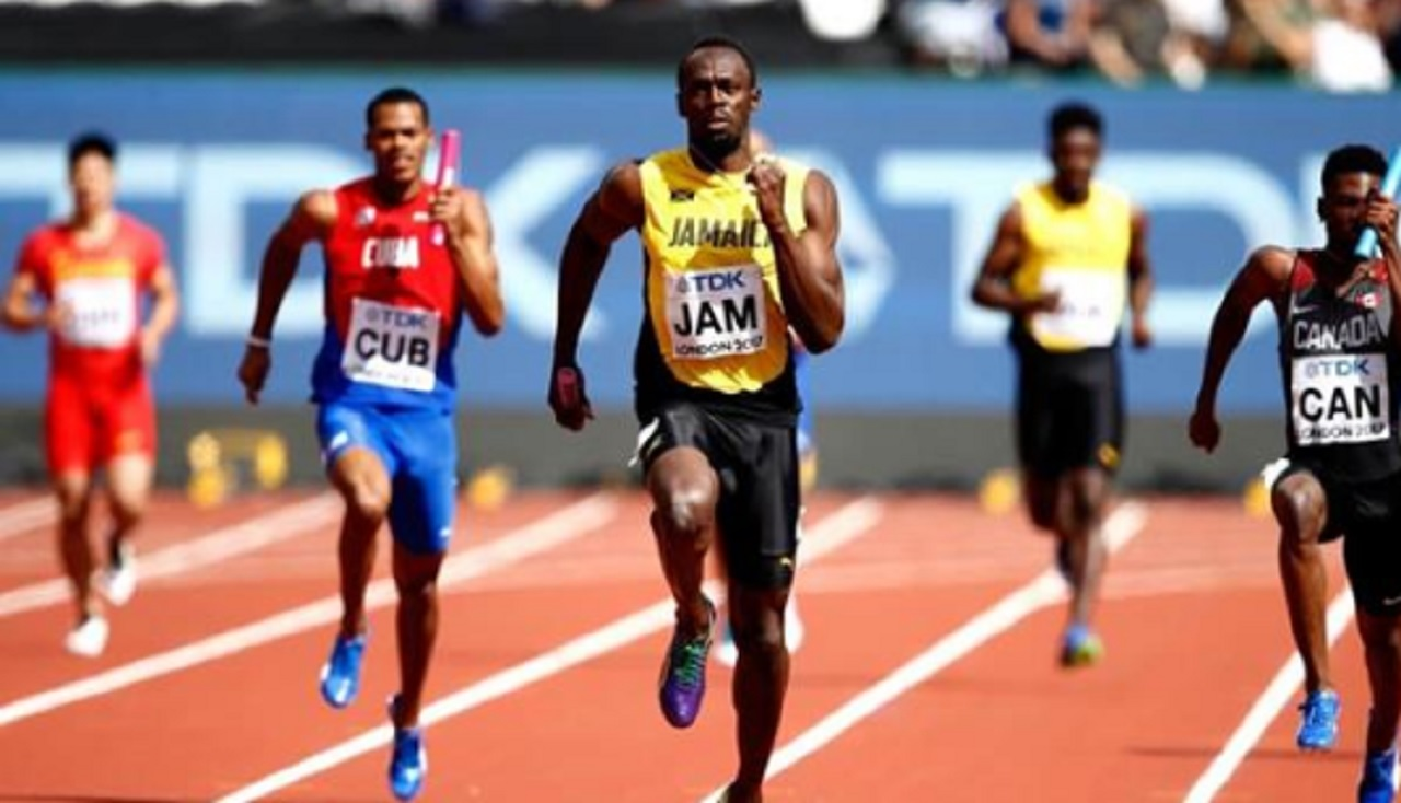 Usain Bolt powers Jamaica to victory in the heats of the men's 4x100m relay on Saturday at the World Championships in London. (PHOTO: IAAF).