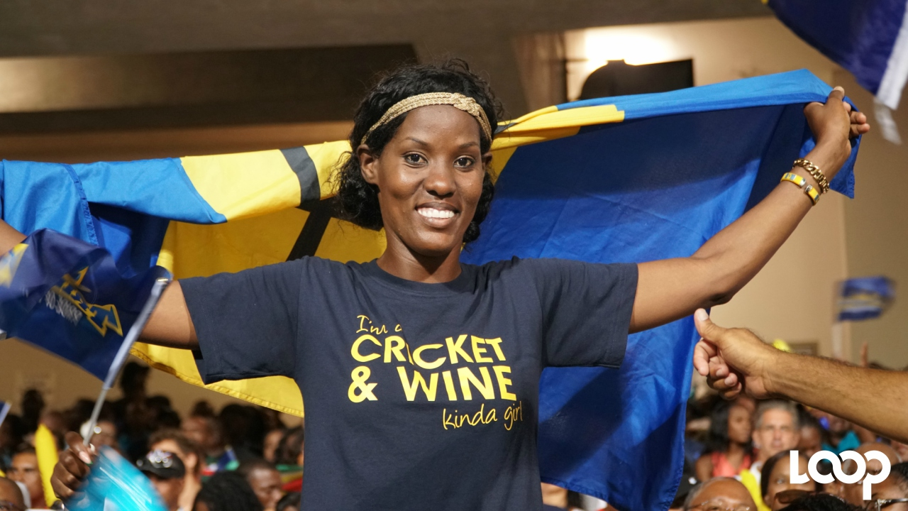 A Barbados Tridents fan at Kensington Oval on Tuesday night during Match 25 of the 2017 Hero Caribbean Premier League (CPL) tournament. (PHOTO: Richard Grimes)