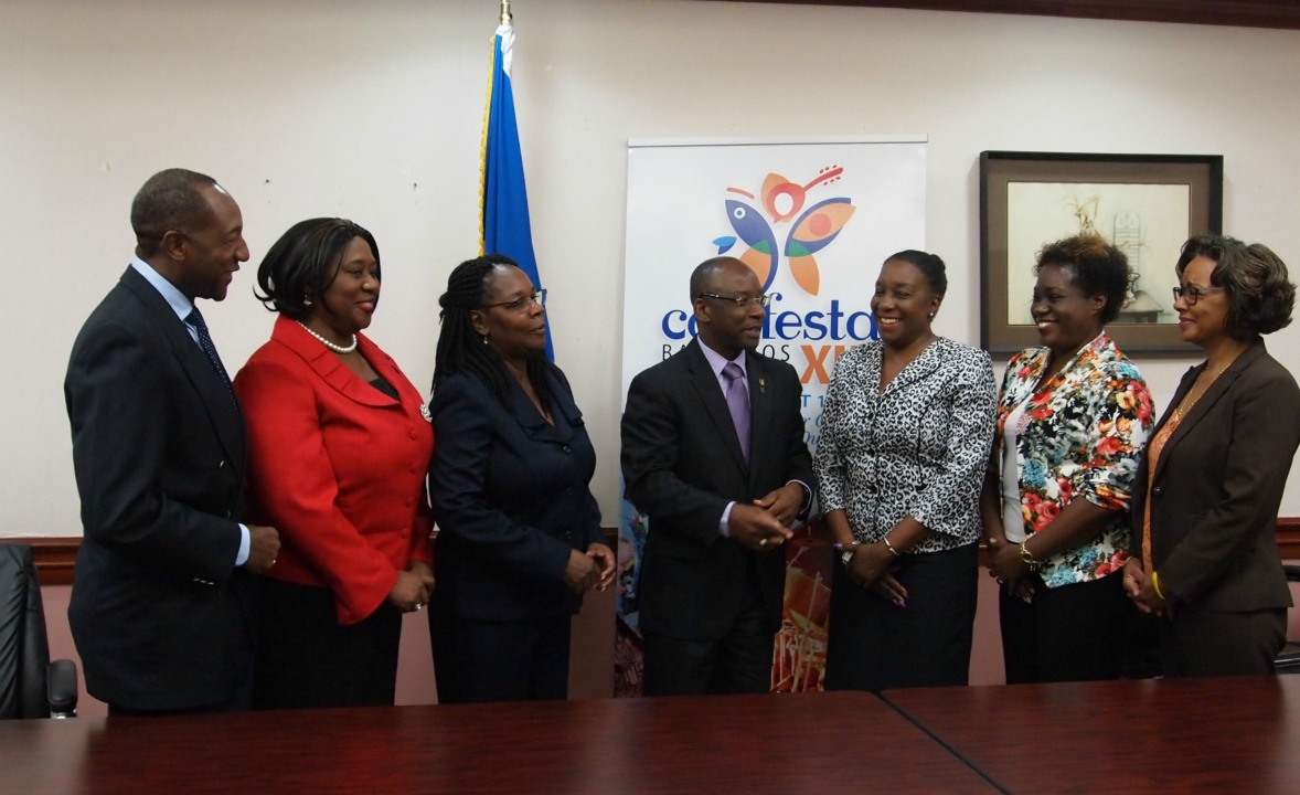 (l-r) Director of Marketing with the Barbados Tourism Marketing Inc, Robert Chase; Sonia Hall-Hunte, Permanent Secretary in the Ministry of Youth, Sports and Culture, Ruth Blackman, Minister Stephen Lashley; Marketing Manager of Global Directories/ Barbados Yellow Pages, Pam Roach; Manager of Communications with the Barbados Light and Power, Jackie Marshall-Clarke and Manager of Innovation and Strategy at the Barbados Tourism Product Authority.