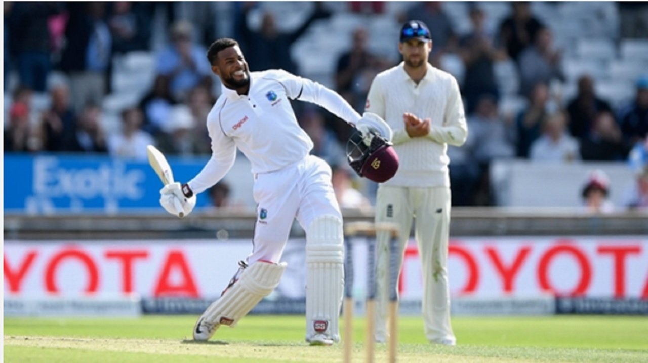 West Indies batsman Shai Hope celebrates his century on day two of the second Test against England at Headingley on Saturday.