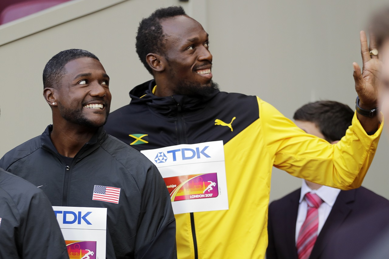 American Justin Gatlin and Jamaica's global sprint star Usain Bolt at the World Championships in London.