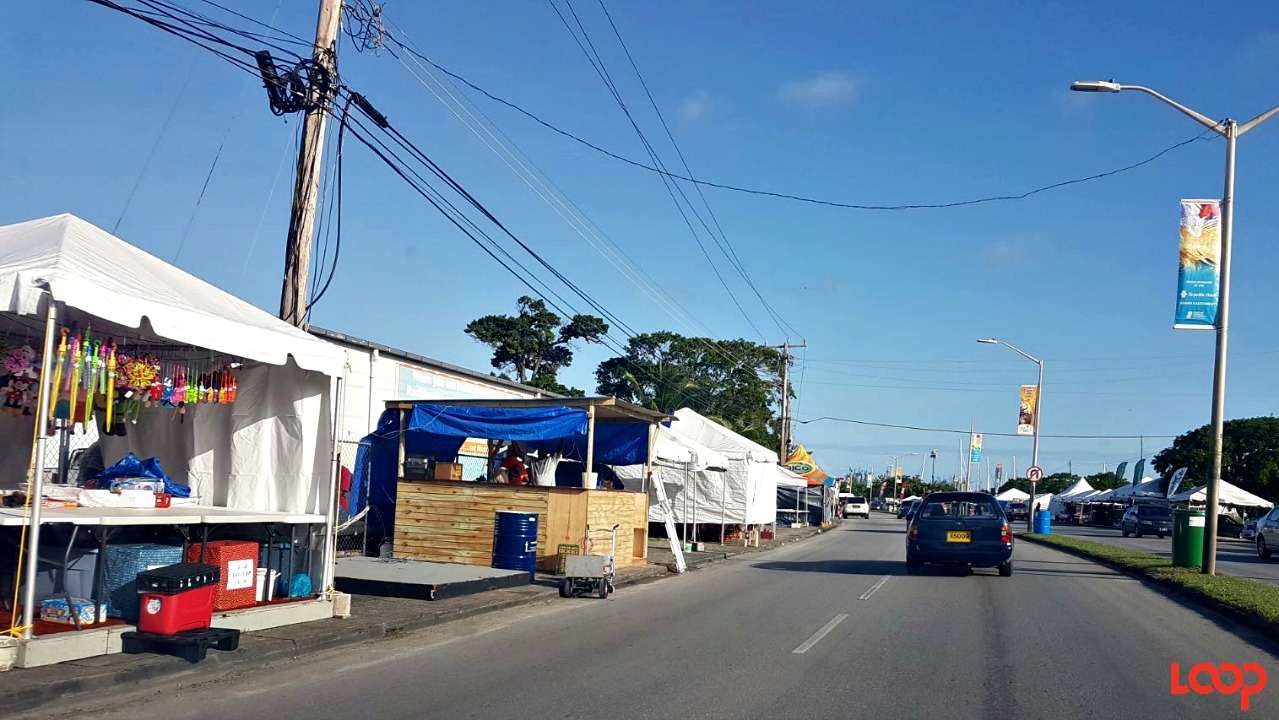 Spring Garden Highway during the preparation phase for Bridgetown Market.