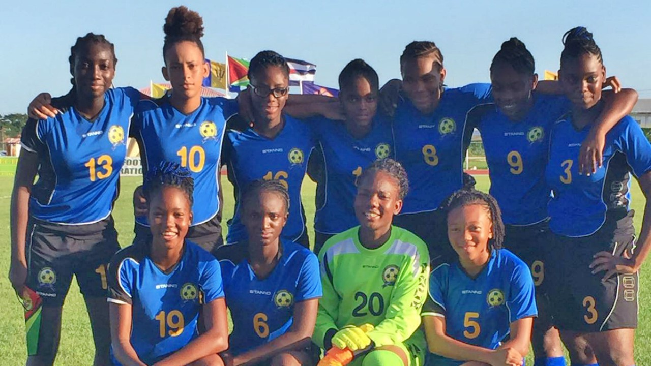 The Barbados U17 girls' football team.