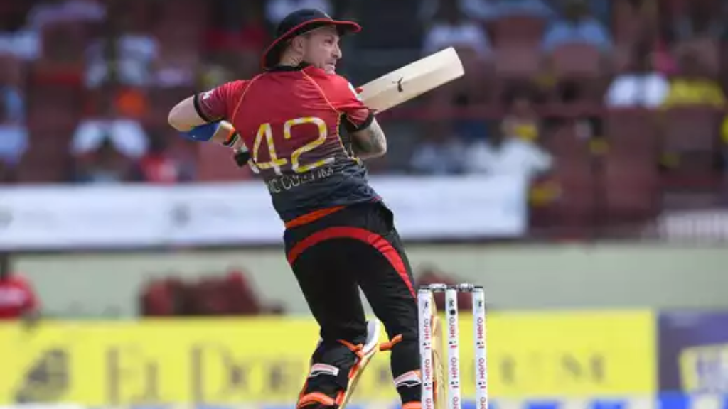 In this handout image provided by CPL T20, Brendon McCullum of Trinbago Knight Riders hits 4 during Match 17 of the 2017 Hero Caribbean Premier League between Guyana Amazon Warriors and Trinbago Knight Riders at Guyana National Stadium on August 19, 2017 in Providence, Guyana. (Photo by Randy Brooks - CPL T20 via Getty Images)