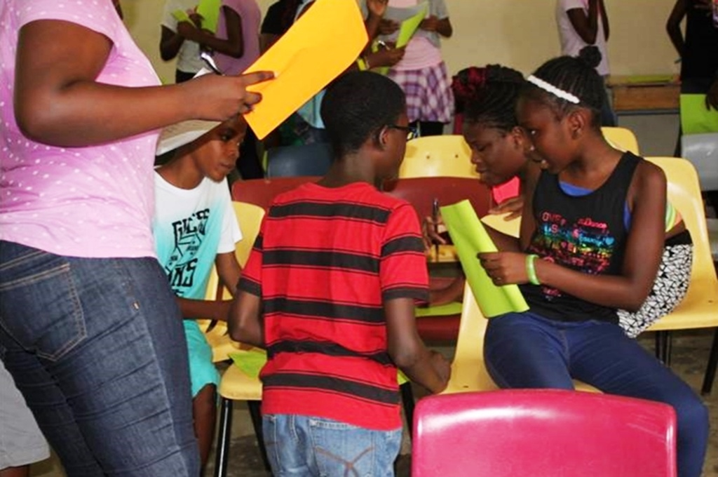 Students taking part in a social skills development activity at Camp Transition. (Photo courtesy M. Grant via BGIS)