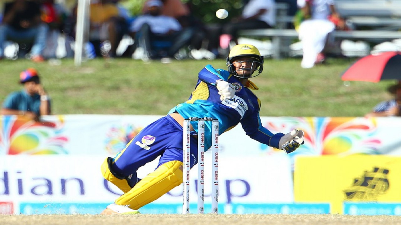 Tridents Wicketkeeper Nicholas Pooran in action against the Tallawahs on Saturday.
