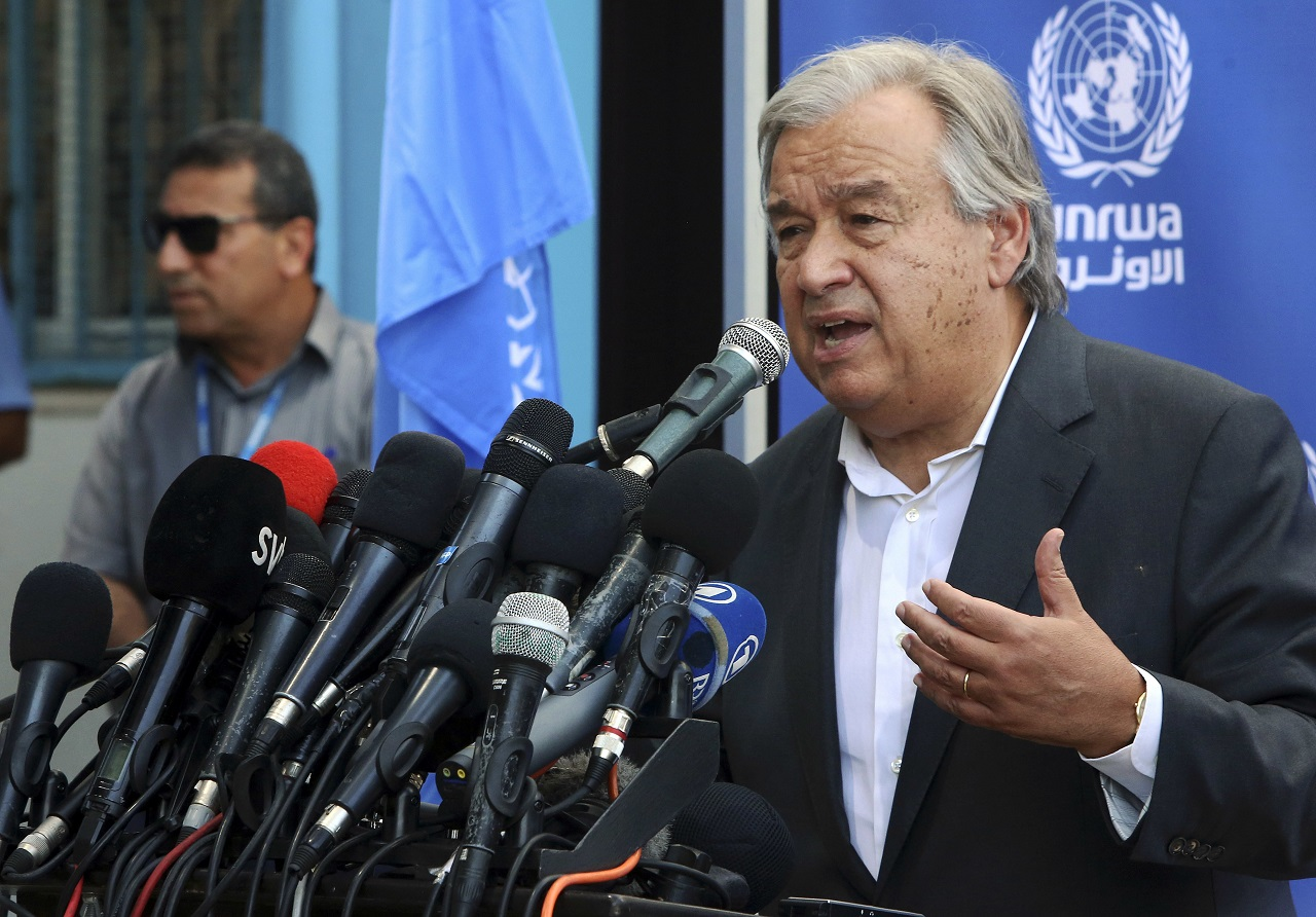 U.N. Secretary-General Antonio Guterres holds a press conference at the U.N. Aleppo Elementary school in Beit Lahiya, Gaza Strip, Wednesday, Aug. 30, 2017.
