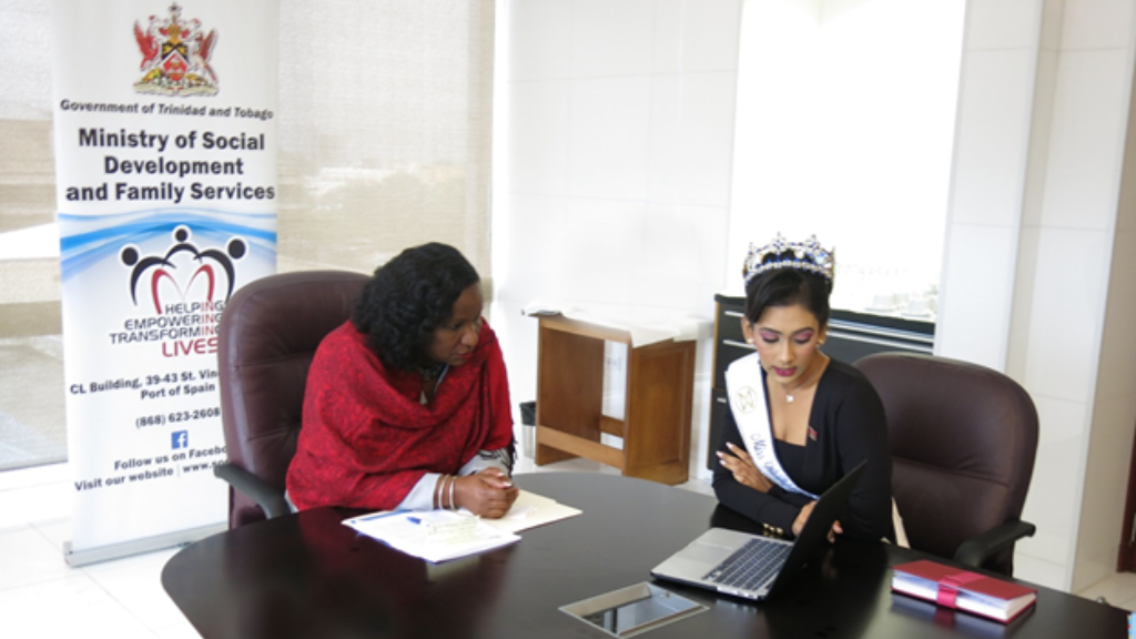 Beauty with a Purpose: Ms. Chanka shares some of her plans with Minister Crichlow-Cockburn.