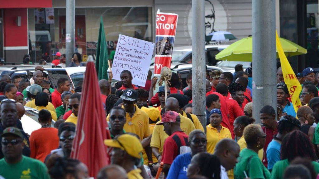 Members of the trade union movement staged a mass demonstration on Friday. Photo: The Oilfields Workers Trade Union
