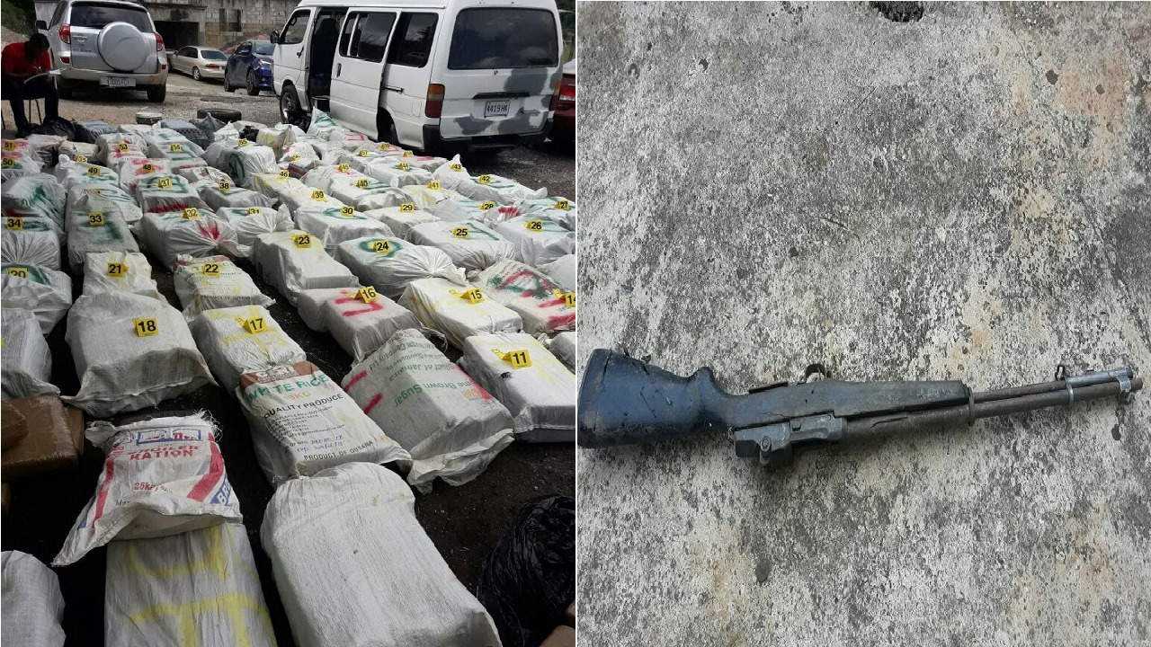 Packages of compressed ganja and rifle seized in anti-narcotic operation in Whitehouse,  Westmoreland last week.