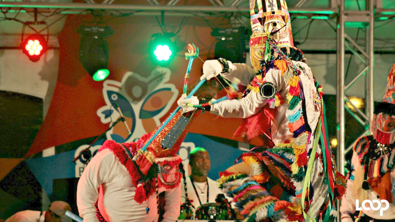 Gombey dancers from Bermuda perform during CARIFESTA XIII.