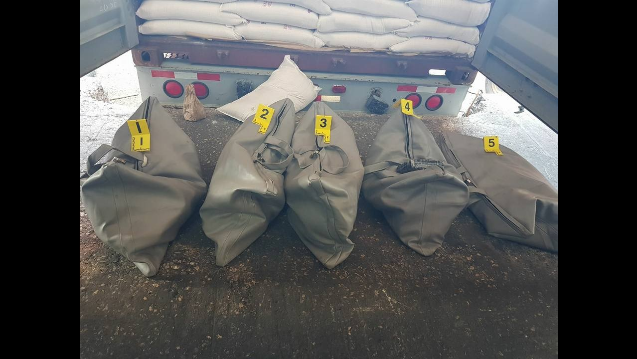 The five leather bags which contained the cocaine. (PHOTOS: Jamaica Constabulary Force)