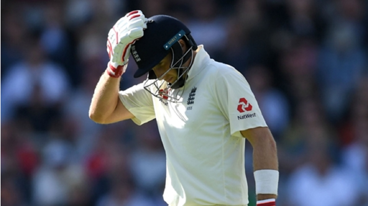 Joe Root reacts after being dismissed against South Africa at Old Trafford.