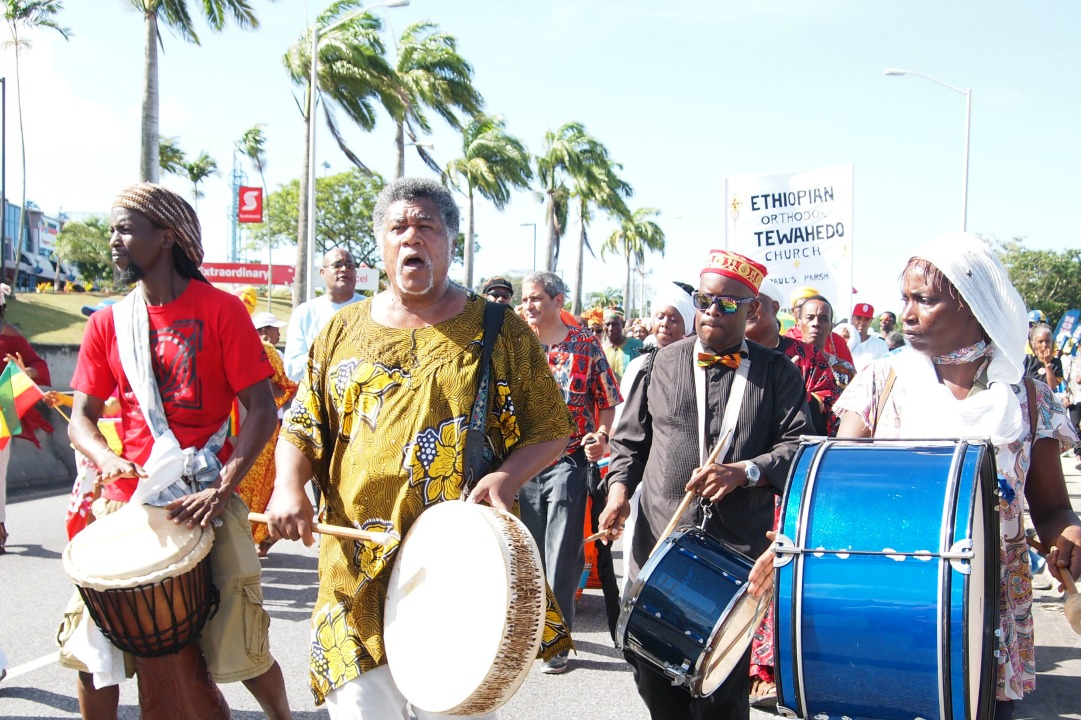 The 2017 Emancipation Walk being led by the drummers.