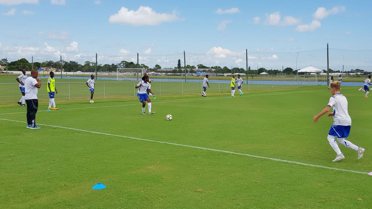 The Barbados Under 15 boys team during a practice session.
