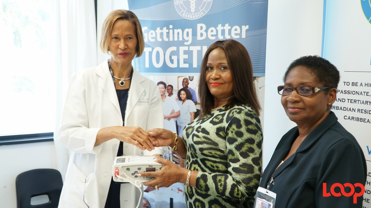 (l-r) Professor Dr. Anne St. John, Consultant with Department of Pediatrics at the QEH; Monica Fenty, representing the Clara Lionel Foundation; Marita Harris, Senior Nursing Officer with responsibility for Women and Children.