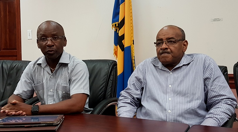 Culture Minister Stephen Lashley (left) with CEO of the National Cultural Foundation, Cranston Browne, at this afternoon's press conference.
