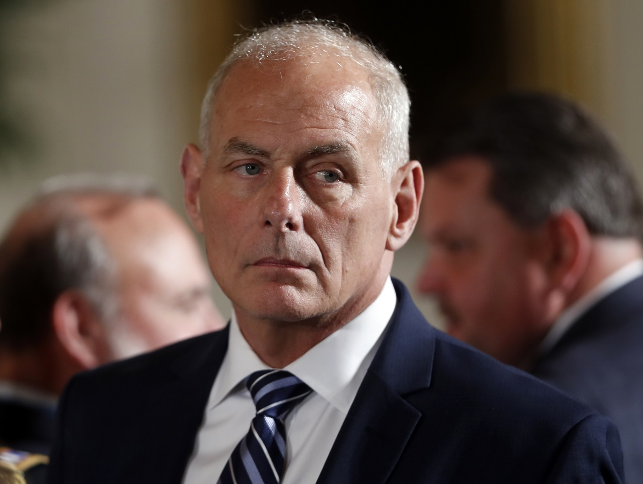 White House Chief of Staff John Kelly appears at event where President Donald Trump was to bestow the Medal of Honor to retired Army medic James McCloughan during a ceremony in the East Room of the White House in Washington, Monday, July 31, 2017.