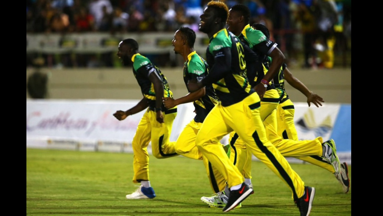 Tallawahs players celebrate after their victory over the St Lucia Stars on Tuesday night.