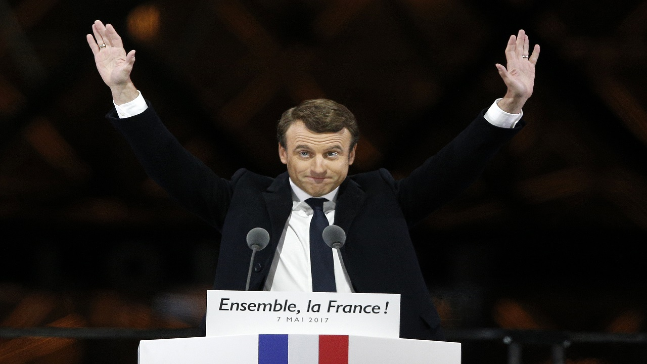 Emmanuel Macron, who had never run for office before, celebrated with thousands of jubilant, flag-waving supporters outside the Louvre Museum in Paris on Sunday night.