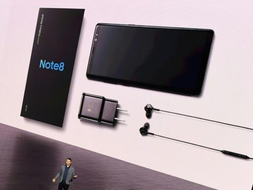 Présentation du nouveau smartphone grand-écran Galaxy Note 8, le 23 août 2017 à New York