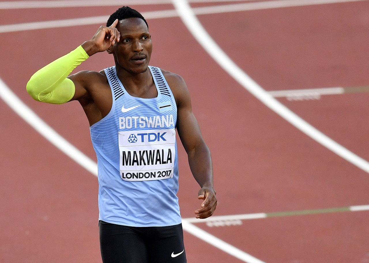 Botswana's Isaac Makwala reacts after winning his heat of the men's 400 meters during the World Athletics Championships in London Sunday, Aug. 6, 2017.