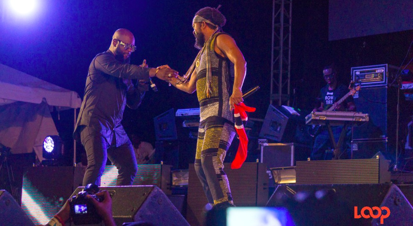Bunji Garlin and Machel Montano on stage at 1Love 2017 in Barbados.