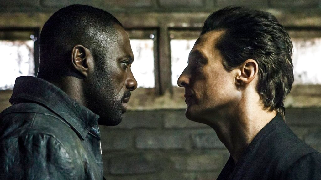 "This image released by Sony Pictures shows Idris Elba, left, and Matthew McConaughey in the Columbia Pictures film, ""The Dark Tower."" (Ilze Kitshoff/Columbia Pictures/Sony via AP)"